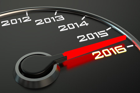 new beginning: Conceptual 2016 year speedometer