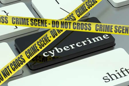 information technology law: Cybercrime concept, on the computer keyboard