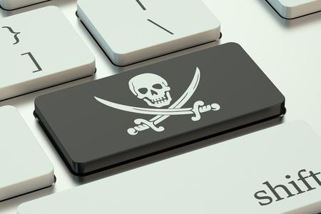 privacidad: concepto de la piratería de software, en el teclado de la computadora Foto de archivo