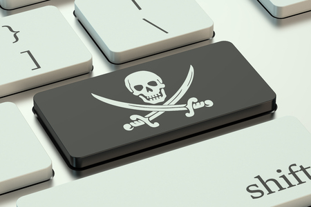 computer software: software piracy concept, on the computer keyboard Stock Photo