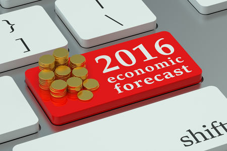 economic forecast: 2016 economic forecast concept on the keyboard