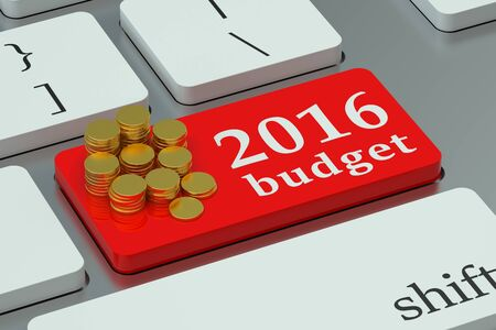 financial year: financial budget 2016 concept  on the keyboard Stock Photo