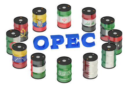 opec: OPEC concept isolated on white background Stock Photo