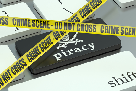 piracy: piracy concept, on the computer keyboard