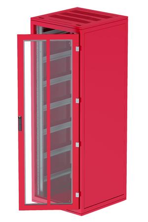 server rack: Red Server rack isolated on white background