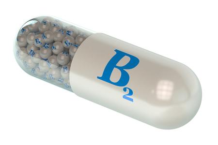 capsule: Vitamin capsule B2 isolated on white background Stock Photo