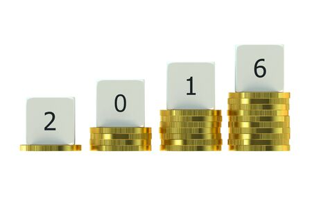 financial year: Year 2016 on Stacks of Gold Coins, financial concept
