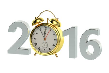 alarmclock: New Year 2016 concept isolated on white background