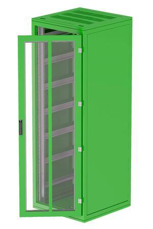 server rack: Green Server rack isolated on white background Stock Photo