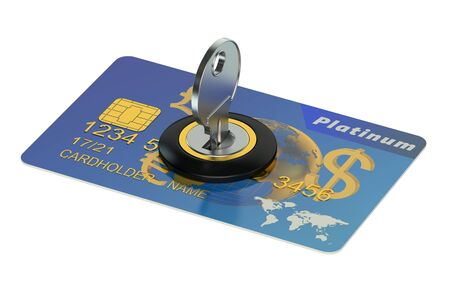 credit risk: credit card security concept isolated on white background Stock Photo