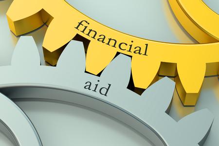 金属の歯車に金融援助概念 写真素材