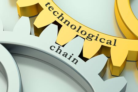 technological and communication: Technological Chain concept on the metallic gearwheels Stock Photo