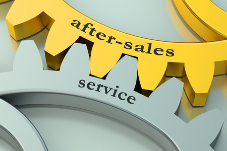 aftersales: after-sales service on the metallic gearwheels Stock Photo