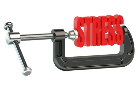 clamp: stress concept in clamp isolated on white background Stock Photo
