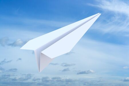 paper plane: Paper Plane on the blue sky