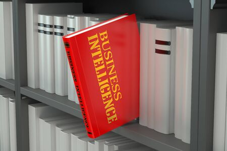 business intelligence: Business Intelligence concept on the bookshelf