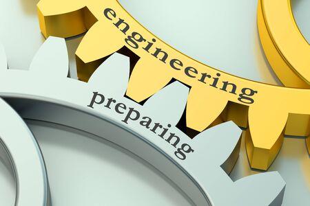 preparing: Engineering Preparing concept on the gearwheels