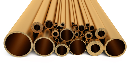 brass: Copper pipes isolated on white background Stock Photo