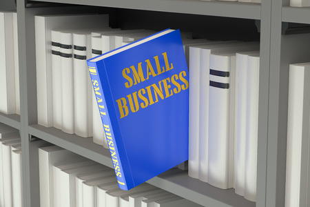 business analysis: small business concept on the bookshelf