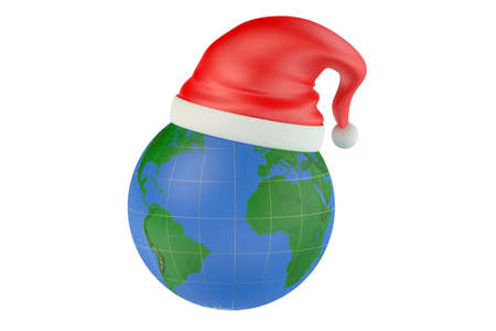 new year's cap: Globe and Santa Claus red christmas hat isolated on white background Stock Photo