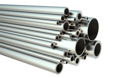 rolled: set of steel pipes isolated on white background