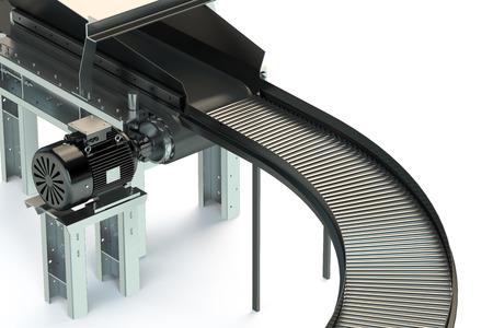 cinta transportadora: Transportadora vacía rodillo aislados en fondo blanco