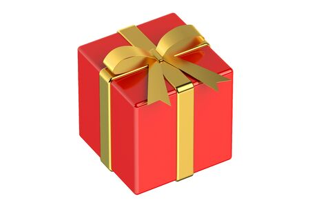 red gift box: Red gift box with gold ribbon and bow isolated on white background Stock Photo