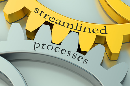 process management: streamlined processes concept on the gearwheels