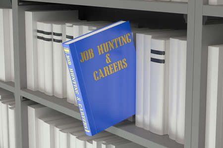 job hunting: job hunting and careers concept on the bookshelf