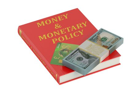 monetary: money and monetary policy concept on the book Stock Photo