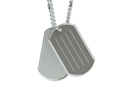 blank metallic identification plate: dog tags closeup isolated on white background Stock Photo