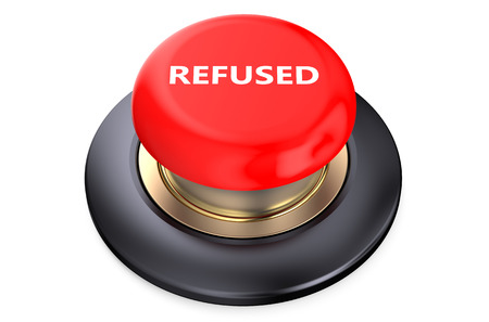 refused: Refused red push button isolated on white background