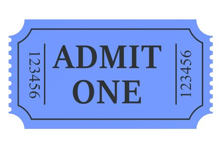 admit: ticket admit one isolated on white background