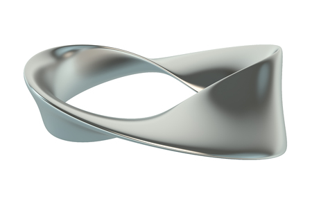 side effect: metallic Moebius strip isolated on white background