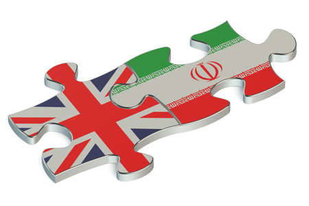 great britain: Great Britain and Iran puzzles from flags Stock Photo