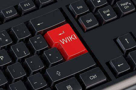 wiki wikipedia: WIKI concept on the computer keyboard Stock Photo