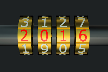 combination: New Year 2016 combination concept isolated on white background Stock Photo