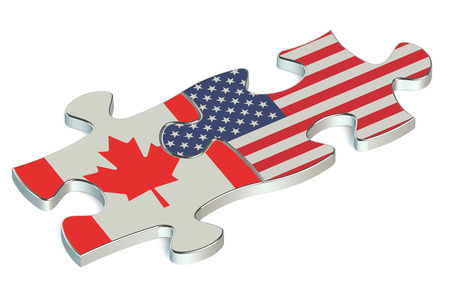 canada flag: USA and Canada puzzles from flags Stock Photo