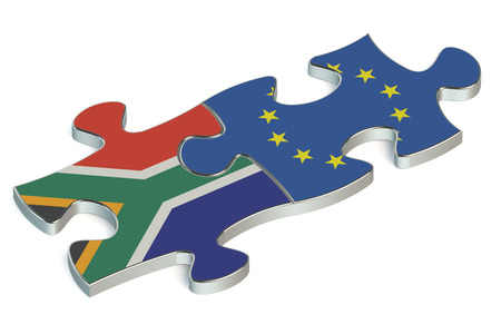 european union: European Union and Republic of South Africa puzzles from flags Stock Photo