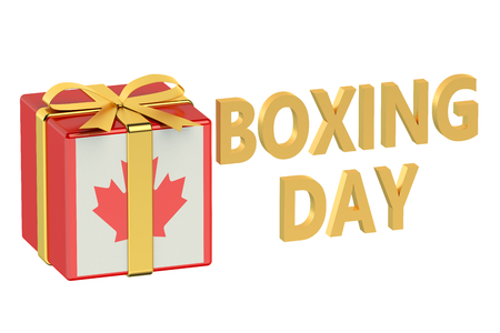 boxing day: boxing day concept with flag Canada