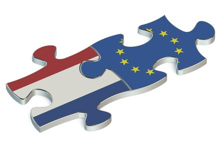 european union: European Union and Netherlands puzzles from flags