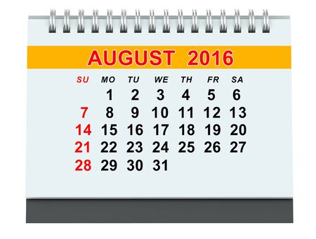 year 3d: August 2016 calendar isolated on white background Stock Photo