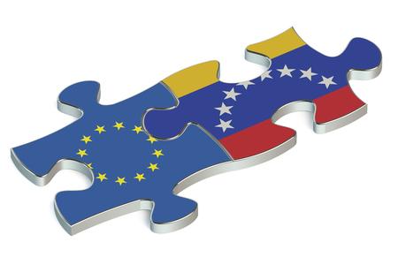 european union: Venezuela and European Union puzzles from flags Stock Photo