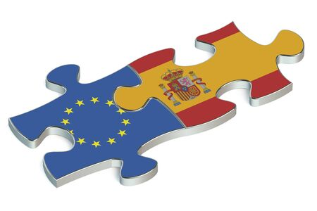 european union: Spain and European Union puzzles from flags