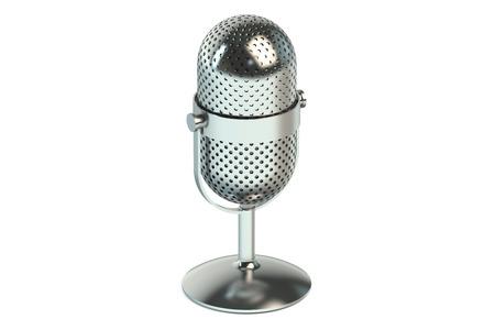 estudio de grabacion: micrófono aislado sobre fondo blanco