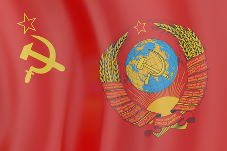 Flag and  blazon of the USSR Stock Photo
