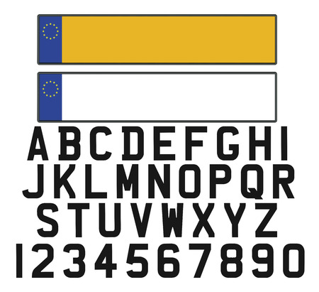 blank metallic identification plate: Empty vehicle registration plate with set of numerals and letters