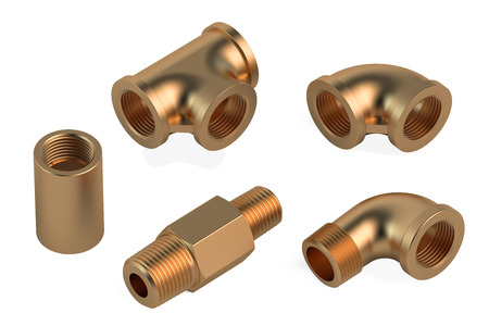 fittings: copper fittings for plumbing pipes isolated on white background