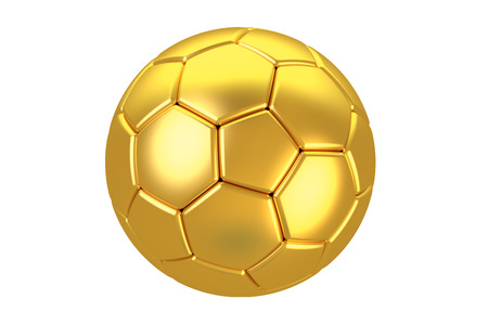 golden ball: golden soccer ball isolated on white background