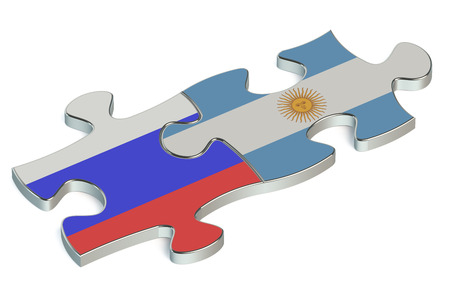 russian federation: Argentina and Russian Federation puzzles from flags Stock Photo
